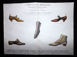 Le Moniteur de la Cordonnerie 1890 Rare Hand Colored Shoe Design Print 42